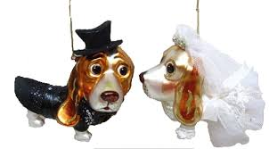 december diamonds blown glass ornament basset hound wedding