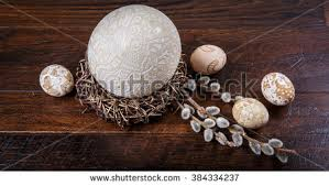 painted ostrich eggs decorative handpainted easter eggs nest decorated stock photo