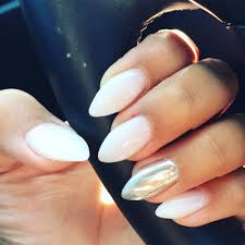 soft white nexgen nails and chrome on the ring finger ah mazing