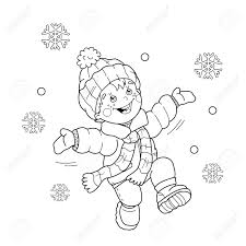 coloring outline cartoon boy jumping joy snow