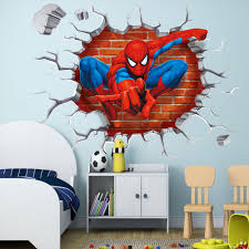 movie decor for the home removeable pvc 3d spiderman wall sticker home decor for kids