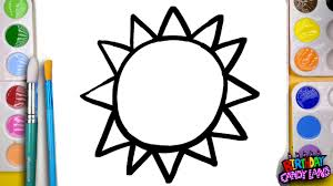 how to draw and paint a bright sun coloring page for kids to learn