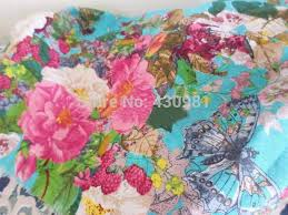 Large Floral Print Curtains Blue White Butterfly Flowers Garden Print Fabric Linen Cotton