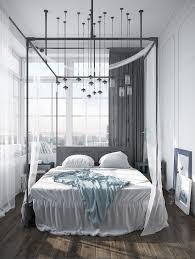 exotic modern canopy bed design made of dark wood elegant gray in