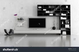 White Livingroom Black White Living Room Tv Stand Stock Illustration 112639304