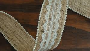 burlap and lace ribbon 1 5 inch burlap lace ribbon with pearl trim pearl burlap ivory lace