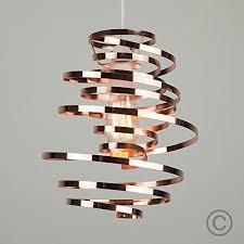 Spiral Pendant Ceiling Light Minisun Contemporary Copper Metal Ribbon Spiral Swirl