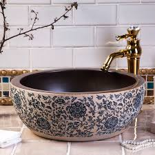 Commercial Bathroom Sinks And Countertop Europe Vintage Style Handmade Ceramic Washing Basin Bathroom Wash