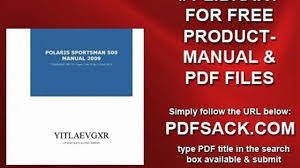 polaris sportsman 500 manual 2009 video dailymotion