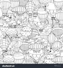 air balloons sky coloring page stock vector 392636170