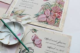 painted bouquet wedding invitations momental designsmomental designs