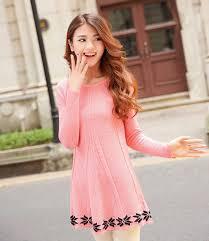2014 Autumn Winter Korean New Brand Pink Color Dress Long Sleeve