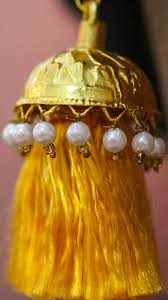 lotan earrings lotan yellow resham silk tassels and gold pearl jhumka