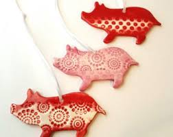 pig ornament etsy