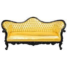 canapé baroque baroque napoléon iii tissu simili cuir doré et bois laqué noir