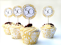 Instant Download 50th Anniversary DIY Cupcake by whirligigspartyco