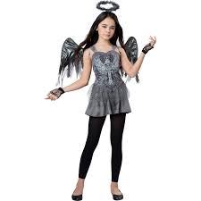 Girls Angel Halloween Costume Dark Fallen Angel Girls Halloween Costume Walmart