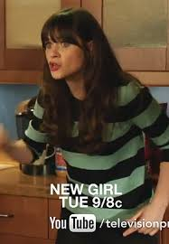 zooey deschanel new girl fashion wwzdw what would zooey deschanel s turquoise and navy striped sweater on new girl