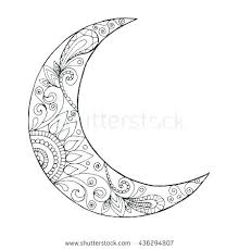 crescent moon coloring page nt moon coloring page half greeting