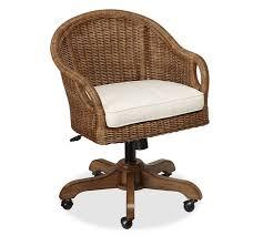 Office Desk Chairs Uk Wingate Rattan Swivel Desk Chair Pottery Barn