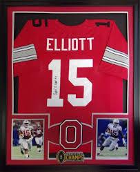 ezekiel elliott framed jersey signed jsa coa autographed ohio