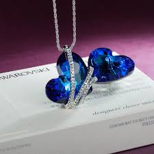 swarovski heart necklace blue images Qianse quot heart of the ocean quot blue swarovski elements crystals heart jpg