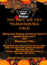 s club thanksgiving fried turkey sale the imani school