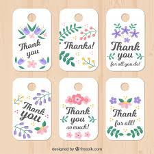thank you tags set of floral thank you tags vector free