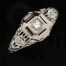 antique vintage engagement ring 18k white gold diamond art deco small