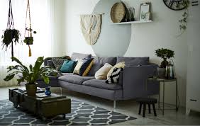 ikea living room a living room with grey sofa and indoor plants ideas ikea decorate