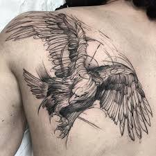 big size flying detailed black crow tattoo on back in engraving