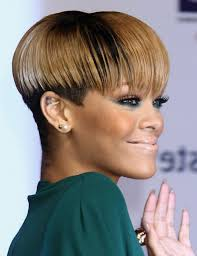short razor hairstyles rihanna short razor cut hairstyles in side view for women stock