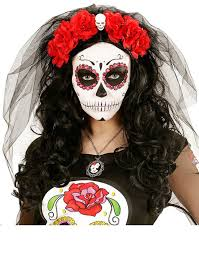 day of the dead headband day of the dead headband with skull and veil by widmann 4133