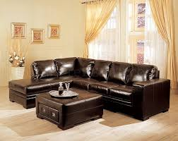 dark brown bycast leather sectional sofa w storage ottoman