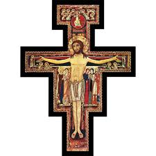 san damiano crucifix san damiano pedestal cross 6 10 15 inch the catholic company