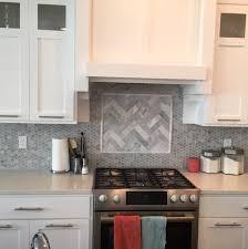 backsplash hexagon tile with herringbone insert love home