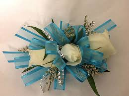 teal corsage corsage with teal ribbon and white roses in modesto ca flowers