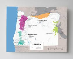 Map Of California And Oregon by Detailed Map Of Wine Regions In Oregon Usa Wine Posters Wine