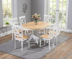 Oak Dining Room Furniture Sale Buy The Epsom Oak And White Pedestal Extending Dining Table Set