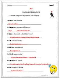 spanish question words practice interrogativas by tapas for two tpt