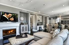 Z Gallerie Interior Design Art Deco Living Room With Cement Fireplace U0026 Flush Light In