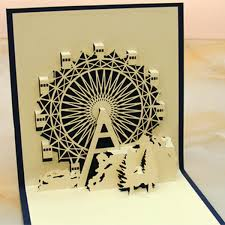 1pc pop up greeting card happy birthday cake candle ferris wheel