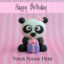 happy birthday cute panda greeting card with your name