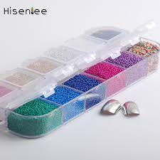 hisenlee 12 colors micro ball micro crystal nail caviar beads