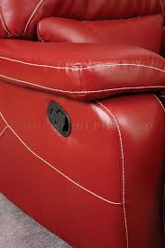 reclining sofa cm6814rd in red leather match w options