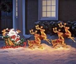 Christmas Reindeer And Sleigh Decorations by Outdoor Santa Sleigh Foter