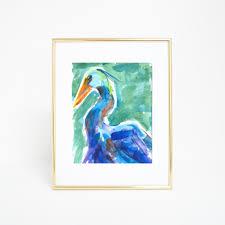 watercolor crane coastal bird wall art digital print u2013 jetty home