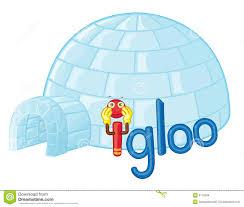 cartoon igloo in polar winter landscape royalty free stock photos