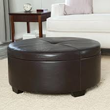 round leather coffee table leather ottoman coffee table canada round storage ottoman brown faux