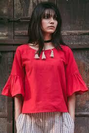 khadi red color western top